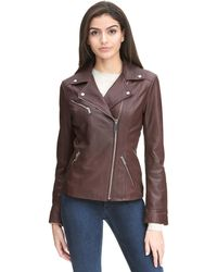 Wilsons Leather - Web Buster Asymmetrical Zip Leather Jacket W/ Metallic Details - Lyst