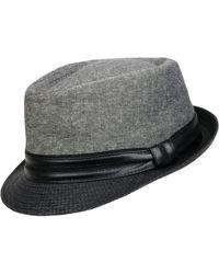 223f23e2e0ca4 Lyst - Wilsons Leather Plaid Mixed Media W  Velvet Band Panama Hat ...