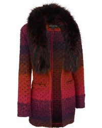 Wilsons Leather - Fabulous Furs Marbled Knit Sweater W/faux-fur Collar - Lyst