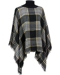 Wilsons Leather - Sylvia Alexander Plaid Turtleneck Poncho - Lyst