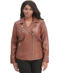 Wilsons Leather - Plus Size Designer Brand Asymmetrical Zip Leather Jacket W/ Metallic Details - Lyst