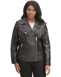 fe0d217648c Wilsons Leather - Plus Size Designer Brand Asymmetrical Zip Leather Jacket W   Metallic Details -