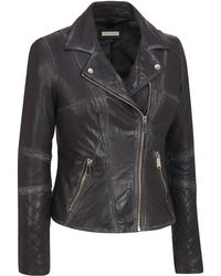 Wilsons Leather - Plus Size Black Rivet Asymmetrical Distressed Leather Moto Jacket W/ Quilting Detail - Lyst