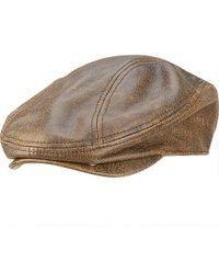 02c50cb001771 Stetson Distressed Leather Ivy Cap (brown) Caps in Brown for Men - Lyst