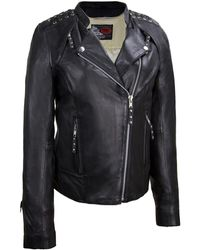 Wilsons Leather - First Classics Asymmetrical Moto Leather Jacket W/ Stud And Lace Detail - Lyst