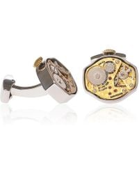 LC COLLECTION - Rhodium Vintage Watch Movement Cufflinks Decorated With Engraving Gold & Silver - Lyst