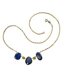 Xanthe Marina - Lapis Lazuli & Peridot Gold Necklace - Lyst