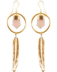 Tiana Jewel - Feather Canyon Rose Quartz Hoop Earrings - Lyst