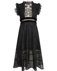 Tilly Paneled Chiffon And Cotton-lace Maxi Dress - Black Alice & Olivia Cheap Sale Low Price 46TFnmLx