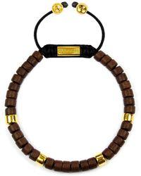 Clariste Jewelry - Men's Ceramic Bead Bracelet Brown & Gold - Lyst