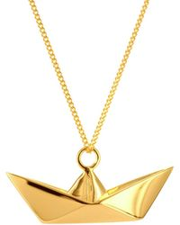 Origami Jewellery - Sterling Silver Gold Plated Boat Necklace - Lyst