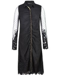 Xllullan - Felicity Sleeved Chenille Embroidered Shirt Dress - Lyst