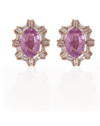 Ri Noor - Pink Sapphire & Diamond Earrings - Lyst