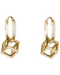 Rachel Entwistle - Cube Mini Hoops Gold - Lyst