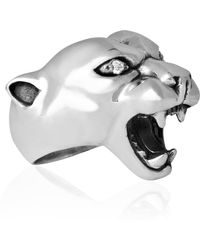 Strange Fruit - Panther Ring Silver With Diamond - Lyst