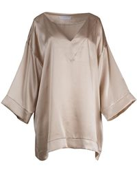Roses Are Red - Yuna Silk Kaftan In Golden Beige - Lyst