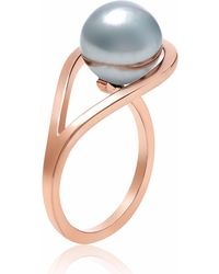 Neola - Aurea Rose Gold Ring With Grey Freshwater Pearl - Lyst