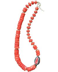 Farra - Orange Coral With Rhinestone Bordered Coral Pendant Necklace - Lyst