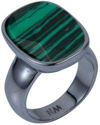 Nadia Minkoff - Semi Precious Vertical Ring Gunmetal With Malachite - Lyst