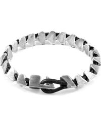 Anchor & Crew - Raven Black Brixham Maxi Silver & Round Leather Bracelet - Lyst