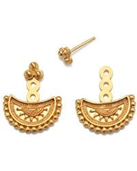 Satya Jewelry - Half Moon Gold Mandala Jacket Earrings - Lyst