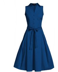 Rumour London - Venice Navy Satin Cotton Belted Flared Dress - Lyst