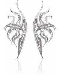 Nooneh London - Atlantis Statement Earrings Rhodium - Lyst