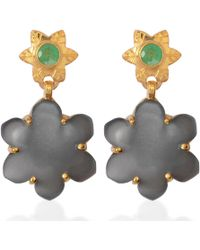 Emma Chapman Jewels - Jamila Black Moonstone Emerald Earrings - Lyst