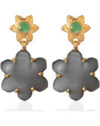 Emma Chapman Jewels | Jamila Black Moonstone Emerald Earrings | Lyst