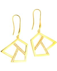 Ona Chan Jewelry Drop Earring With Sapphire Gold