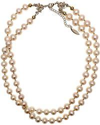 Farra - White Freshwater Pearls Double Strands Choker - Lyst