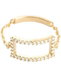 Astrid & Miyu - Tuxedo Rectangle Chain Ring Gold - Lyst