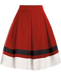 Rumour London - Bella Red Silk Flared Skirt - Lyst