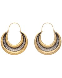 Carousel Jewels - Gold & Silver Textured Antique Finish Earrings - Lyst
