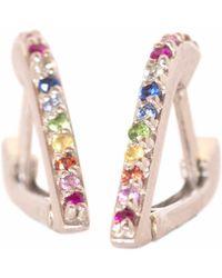 XISSJEWELLERY - Silver & Rainbow Huggy Earrings - Lyst
