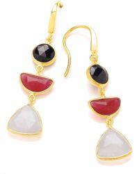Dione London - Artemis Black Spinel Ruby & Moonstone Three Stone Triangle Drop Earrings - Lyst
