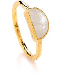 Dione London - Celest Small Moonstone Crescent Stacking Ring - Lyst