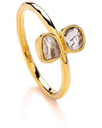 Dione London - Iris Double Diamond Slice Ring - Lyst