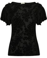 A - M M - E - Ruffle T Black Velvet Lace - Lyst