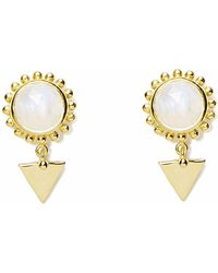 Agnes De Verneuil - Gold Earrings Sun & Stone Rainbow Moonstone - Lyst