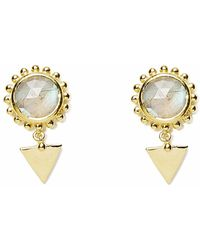 Agnes De Verneuil - Gold Earrings Sun & Stone Labradorite - Lyst