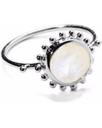 Agnes De Verneuil - Silver Ring Sun & Stone Rainbow Moonstone - Lyst