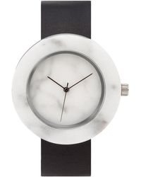 Analog Watch Co. - White Marble Circle With Black Leather Strap - Lyst
