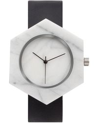 Analog Watch Co. - White Marble Hexagon With Black Leather Strap - Lyst