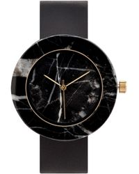 Analog Watch Co. - Black Marble Circle With Black Leather Strap - Lyst