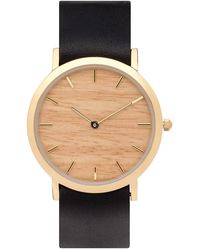 Analog Watch Co. - Silverheart Wood Classic Watch With Black Leather Strap - Lyst