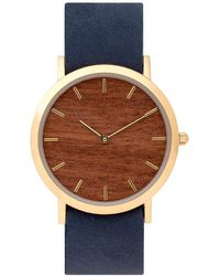 Analog Watch Co. - Makore Wood Classic Watch With Navy Leather Strap - Lyst