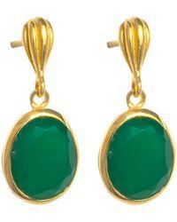 Juvi Designs - Gold Cocoa Pod Baja Earring Green Onyx - Lyst