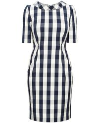 Rumour London - Juliette Navy Stretch Cotton Gingham Dress With Raised Collar - Lyst