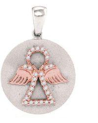 Cosanuova - Diamond Angel Medallion Pendant In 10k White Gold - Lyst